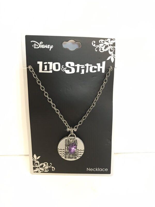 Disney Lilo & Stitch Ohana Means Family Flower Necklace NEW