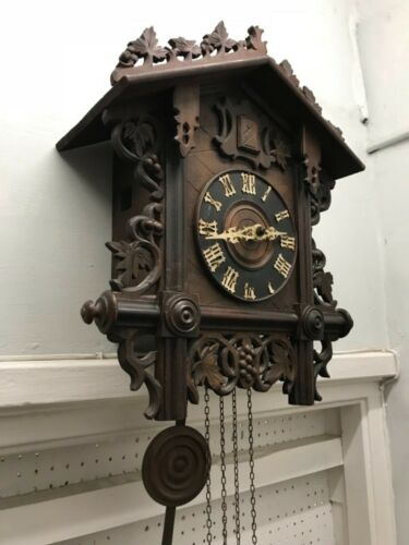 Antique Victorian exceptional large  black Forrest cuckoo clock fully working