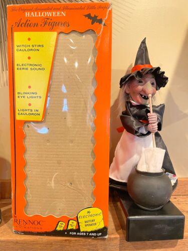 Vintage Animated Rennoc HALLOWEEN WITCH Stirring Cauldron with Original Box