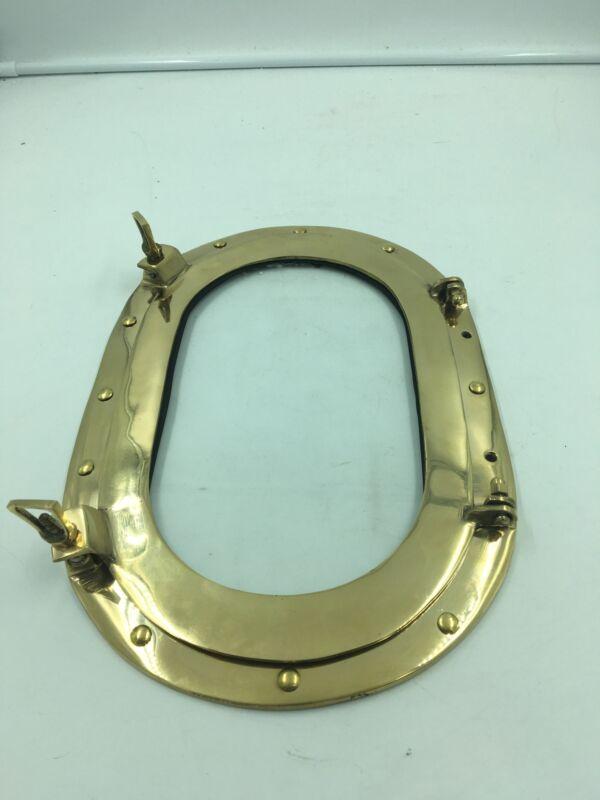 "14"" Brass Glass Oval Porthole-Marine Boat Ship Porthole-Nautical Wall Decor"