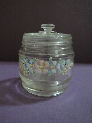 Vintage Glass Nursery Jar with Lid  and Pink, Yellow & Blue  Handpainted Flowers