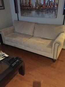 "Couch -sofa ""Alton ""tan rolled arm sofa."