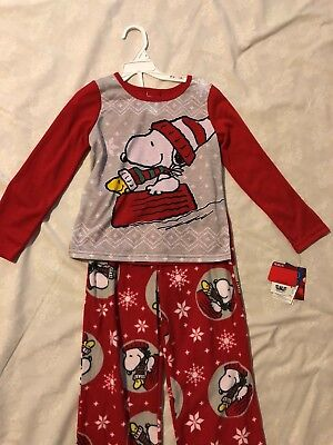 Jammies for your Families Pj: Girl Peanuts Snoopy 2Pc Set, Christmas Theme, Sz6  ()