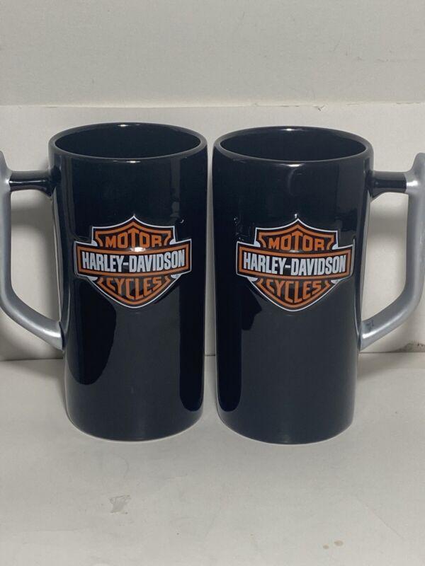 Official Harley Davidson Tall Embossed Logo Black Mug Set Of 2 GUC