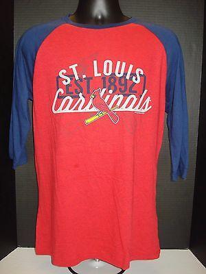 St  Louis Cardinals Majestic 3 4 Sleeve Adult Raglan Tee   Nwt   Free Shipping