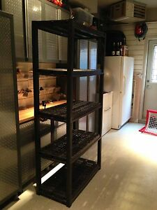 4 level storage rack. Useful in a garage or closet.