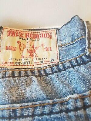 True Religion Powder Blue Jeans 38x33 Bobby Super T World Tour Distressed.