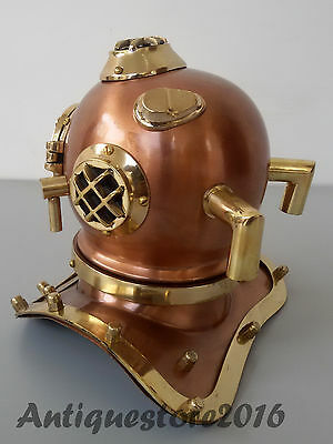 Antique U.S Navy Mark V Solid Brass Steel Scuba Diving Divers Vintage Helmet