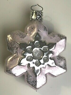 Vintage Christborn Germany Glass Christmas Pink and Silver Snowflake Ornament ()