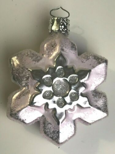 Vintage Christborn Germany Glass Christmas Pink and Silver Snowflake Ornament