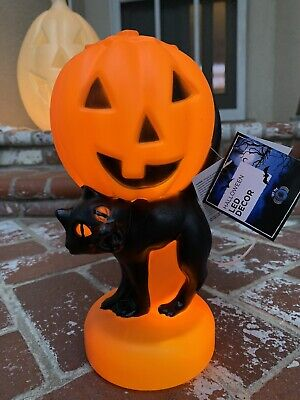 Reproduction Vintage Halloween Spooky Light Up Blow Mold Pumpkin Black Cat