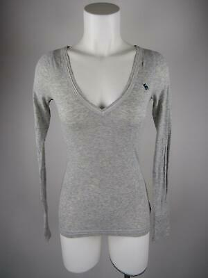 Abercrombie & Fitch Women's sz M Gray Stretch Heather V-Neck T-Shirt Top