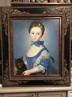 K Dargras- Young Girl with Cat (oil on canvas ).