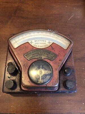 Antique 1888 Westons Direct-reading Volt-meter No 9737 Wood Base Rare