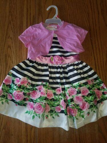 Nwt Girls Jessica Ann Dress Pink Black White Striped 2 Piece 2T Toddler Caridgan