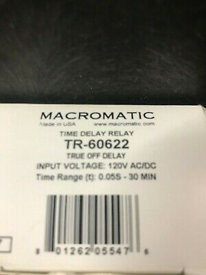 Macromatic Tr-60622 True Off Time Delay Input 120v Acdc Range .05s-30min