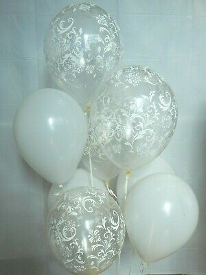 Damask Decorations (White Balloons,Clear Damask Latex Balloons, Birthday, Bridal Decorations)