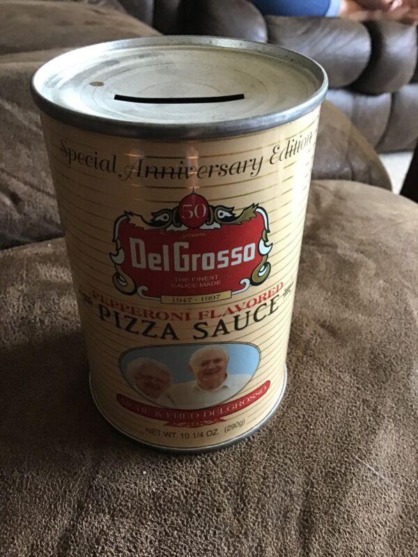 Vintage -DelGrosso Pizza Sauce-Tin Can Coin Bank Advertising Collectible