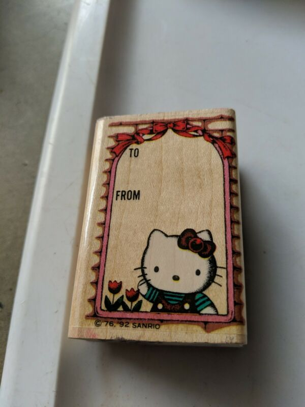 Vintage Sanrio Hello Kitty Wood Mounted Rubber Stamp 1992