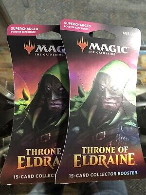(2) MTG Magic the Gathering Sealed Throne of Eldraine Collectors Booster Pack