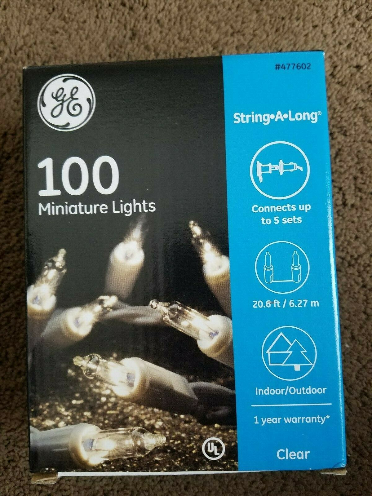 GE 100ct Clear White Wire Mini Christmas String a Long Light