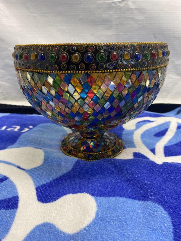 "Vintage Plique A Jour Enamel Style Bowl   8""Wx 7""H  Stained Glass."