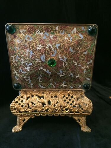 Footed Gilt Dore Bronze Filigree Trinket Box with Enamel and Jeweled Top