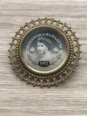 Queen Elizabeth II 2nd 1953 Coronation Royalty Pin badge Brooch  memorabilia