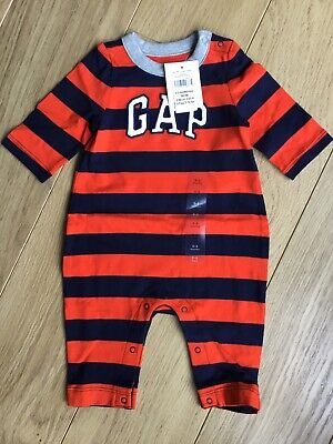 BNWT Baby Gap Boys Striped Long Sleeved Romper Outfit 🤩 New Baby 0-3 Months