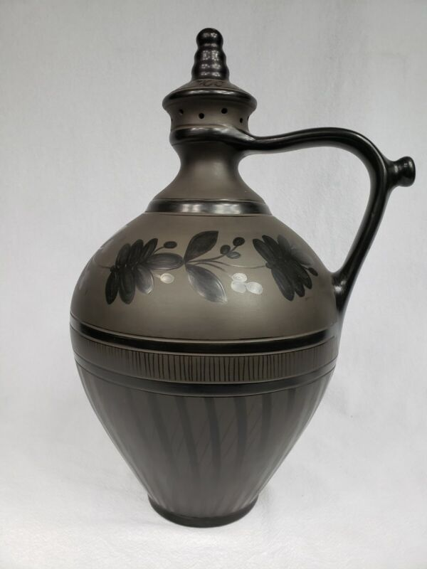 MONUMENTAL VINTAGE KOVATS LAJOS BLACK POTTERY HAND SIGNED HUGE 17""
