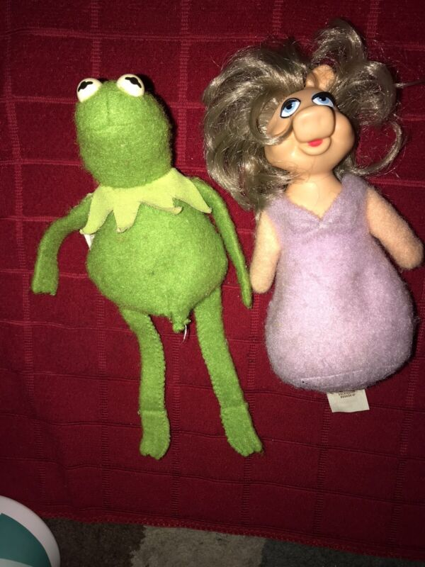 Rare Fisher Price Muppets Kermit the Frog 864 & Miss Piggy 867 beanbags