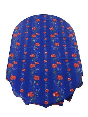 French Provencal Coated Cotton Tablecloth Poppies Lavender  Down in the mouth France 61X79