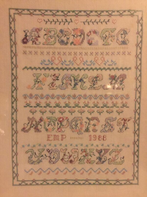 Framed Vintage 1988 Embroidered Alphabet Sampler