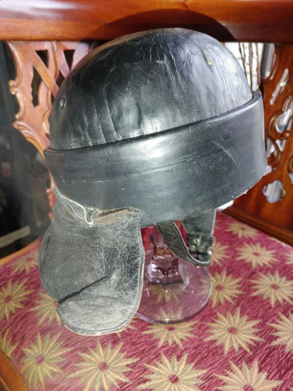 Rare Antique WWII BLACK LEATHER TANKER HELMET Italy Spain Britain old tank ww2