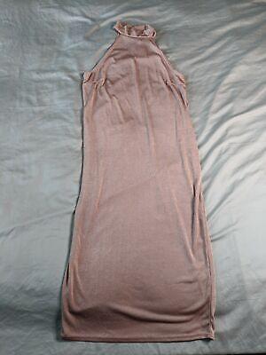 Boohoo Women's Plus High Neck Textured Slinky Midi Dress BE9 Rose Size US:12 NWT