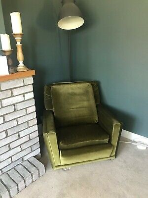 Second hand Olive Green velvet retro armchair
