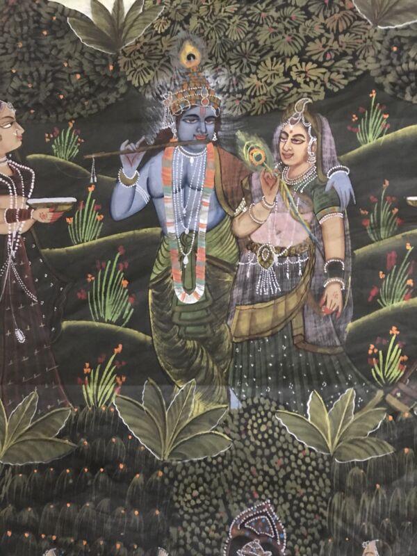 Semi Antique Mughal Sawari Style Indian Hindi Hindu Painting on Silk 45.5 x 36.5