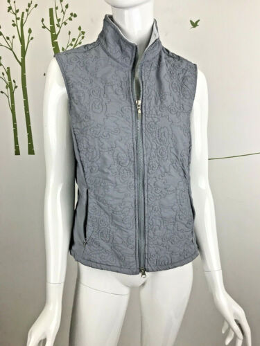 Lucy Womens Size Medium Sleeveless Embroidered Athletic Zip Vest Zip Gray Pocket