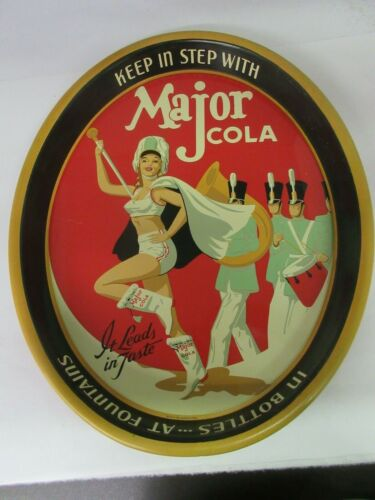 AUTHENTIC MAJOR COLA SODA VINTAGE ADVERTISING SERVING  TRAY EXCELLENT 528-S