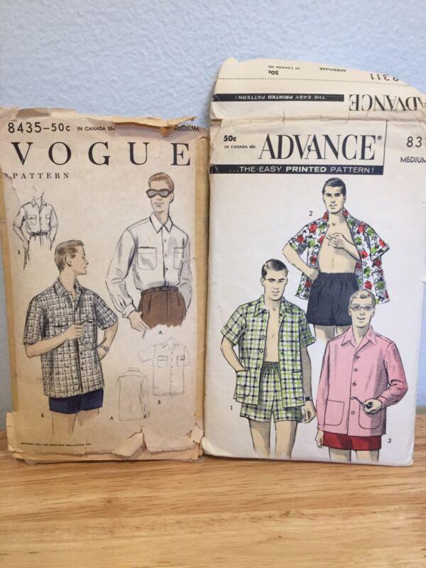 2 Vintage Advance 8311 Vogue 8435 Shirt Sewing Pattern Mens Medium 1950s Cabana