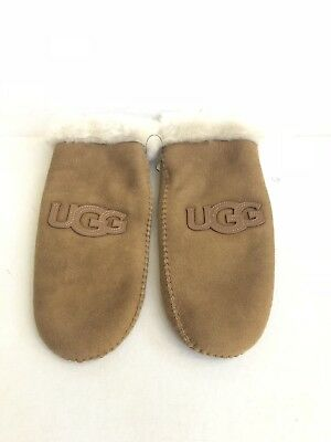 UGG CLASSIC HERITAGE LOGO PATCH MITTEN CHESTNUT SHEARLING SUEDE GLOVES sz L / XL