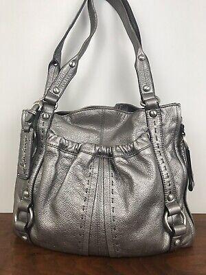 B. Makowsky Silver Leather Hobo Shoulder Bag Large Purse
