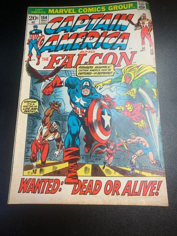 Marvel Comics Captain America 154 1st Nomad App The Falcon Wanted: Dead Or Alive