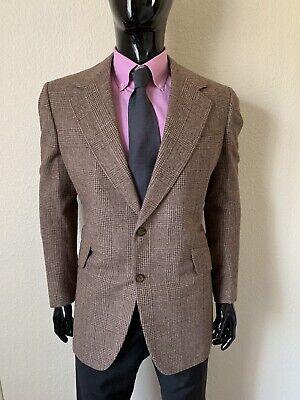 Brioni Off Dark Caramel Brown Plaid Suit Coat Blazer Size 44R Mint!