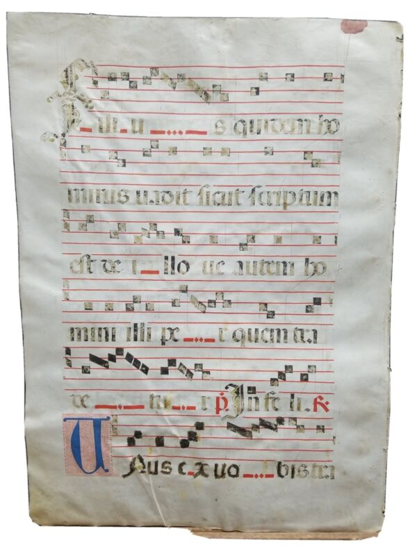 """16th Century Antiphonal Music Manuscript on Vellum 20""""×14.5"""" Double sided 1 Page"""