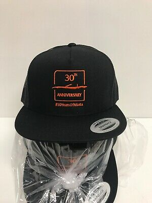 Mazda Embroidered 30th Anniversary Miata Black & Orange Baseball Cap SnapBack - Orange Baseball Hat