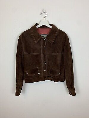 Winnipeg Leather Suede Bomber Jacket Brown Retro Vintage 90's Collar UK Size 12