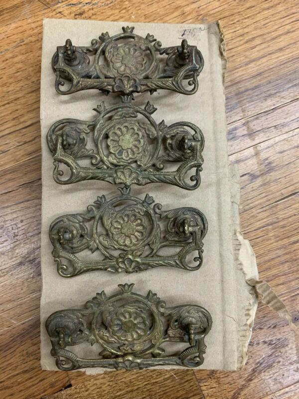 Set Of 4 Antique Ornate Metal Drawer Pulls Handles