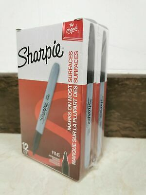 Sharpie Permanent Black Marker Fine Point Tip Markers Marks Ink Pens-24 Count