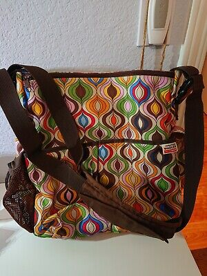 Skip Hop Jonathan Adler Brown Colorful Geometric Diaper Bag And Mat